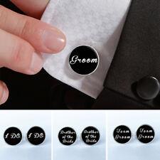Men Groomsmen Shirt Cufflinks Letters Round Clip Wedding Cufflinks Fashion Hot