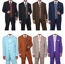 Fortino Landi Men's 4 Button Poplin Dacron Solid Suit w/ Paisley Vest #6903