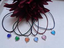 Halskette Anhänger Herz silber Katzenauge    verschiedene Farben