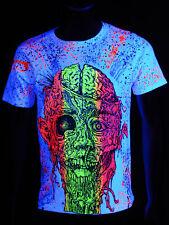 "Luz negra t-shirt Neon ""cinturón White Zombie"" festival de fiesta"