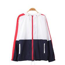 Men's Color Blocked Hooded Lightweight Windbreaker Zip up Jacket Outwear Coat