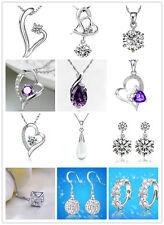 Summer Stylish Purple or Silver Pendant w/ 925 Sterling Silver Necklace FS w/box