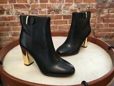 G.I.L.I. Black Leather Kallie Gold Block Heel Ankle Boot NEW Gili