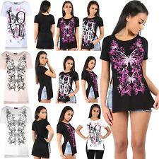 Womens T Shirt Ladies Print Side Slit Floral Diamante Butterfly Love Cap Sleeve