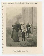 ANTIQUE VICTORIAN MOTHER SON DAUGHTER FLOWER BOUQUET VISIT MINIATURE ART PRINT