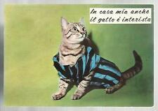 cartolina humor sport calcio soccer in casa mia anche il gatto e' interista