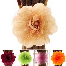 2x Curtain Tiebacks Tie Backs Peony Flower Living Room Bedroom Window Decoration