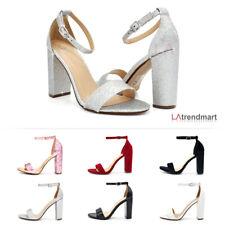 Women Open Toe Ankle Strap Evening Party Dress Block Chunky Heel Sandal Gaddy