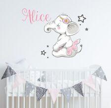 Elephant Wall Decal Nursery Ballerina Name Vinyl Sticker Baby Girls Decor SD64