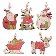 1,4€/Stk  5 Holz Anhäger Weihnachten Deko Elch Schnee- Weihnachtsmann Schlitten