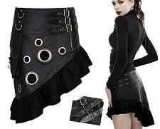 Jupe gothique punk lolita steampunk volantée gros rivets sangles Punkrave noir