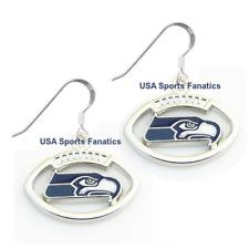Seattle Seahawks Football Logo Pendant Earrings With 925 Earring Wires
