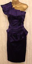Karen Millen Purple Satin One Shoulder Pleat Wiggle Pencil Fit Party Dress  6 34