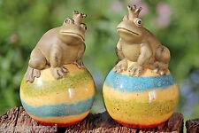 Frosch Froschkönig Kugel Garten Terrakotta Teich  Deko Gartendeko Teichdeko
