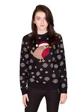 Premium Womens Love Heart Robin Snowflakes Knitted Christmas Jumper + FREE CAP