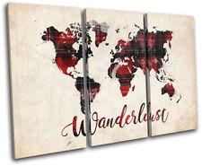 World Atlas Wanderlust Maps Flags TREBLE CANVAS WALL ART Picture Print