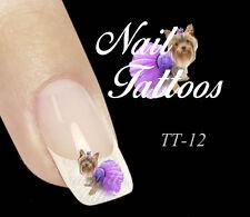 Nail Art Tattoo Yorkshire Terrier mit Tütü Hund 10, 20 oder 30 St. Auswahl TT-12