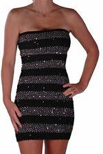 Womens Casual Striped Sequin Boob Tube Thigh Length Short Mini Bodycon Dress