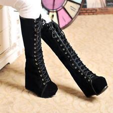 Punk Winter Womens Goth Roman Lace Up Super Platform Wedge Heels Knee High Boots