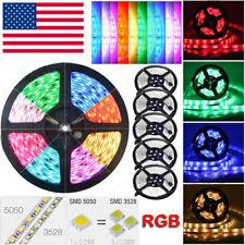 12V 5M 16.4ft RGB White 5050/3528 SMD 300 Leds Flexible LED Strip Fairy Lights