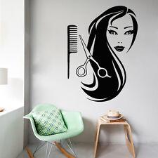 Beauty Salon Wall Decals Scissors Comb Vinyl Sticker Woman Hair Decor Art kk299