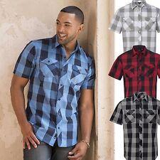 Camisa De Hombre manga corta a cuadros casual Talla especial S M L Xl Xxl 3xl