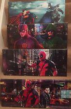 "4 diferentes superhéroe Lona 24""x10"" en un marco de madera, Batman, Superman Spiderman"