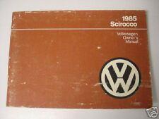 VW OWNERS MANUAL volkswagen 1985 scirocco new 85 mk1