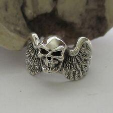 Totenkopf Biker Ring Silber 925er Skull Schädel mit Flügel Sterlingsilber