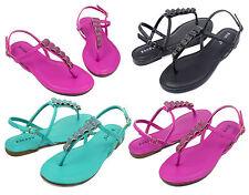 Josalyn-19 Fashion Precious Stone Flat Cute Sandals Gladiator Party Women Shoes