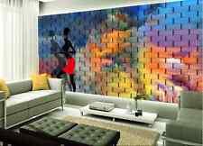 Papel Pintado Mural Vellón Chica De Ladrillo Arcoiris 2 Paisaje Fondo Pantalla