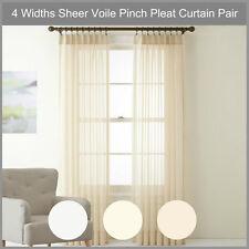 Sheer Pinch Pleat Curtain Pair Voile Beige