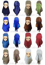 New Cotton Amira Hijab Two Pieces Hijabs Hot Drill Muslim Scarf Islamic Shawls