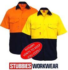 STUBBIES HI VIS 160gsm DRILL MENS SUMMER WEIGHT SHORT SLEEVE WORK SHIRT BW2360