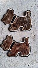 2x Patches Hund mit Pailletten schwarz und gold Tier Aufnäher Bügelbilder