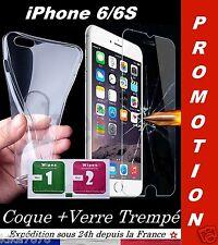 PACK ★ Sécurité Total ★ COQUE SILICONE + VERRE TREMPE IPHONE 6/6S TRANSPARENT
