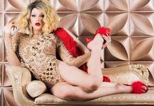 Red Satin Feathers Mens Drag Queen Striptease Shoes Burlesque Dance Heels 14 15