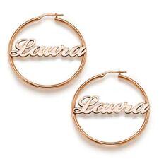 Orecchino Cerchio nome argento Rosa 925 rodiato anallergico gioielli regalo