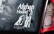 Afghan Hound on Board - Car Window Sticker - Dog Sign Decal Persian Greyhound V1