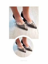 4f7c5483fedfb ZARA Women's Contrast Mid Heel D'orsay Shoes(Snake, US 7.5, 9