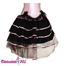 New Black with Pink Satin Burlesque Petticoat Costume Skirt