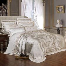 4/6pcs Sliver Golden Luxury Satin Jacquard Embroidery Duvet Cover Bedding Sets