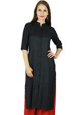 Bimba Women Button Down Rayon Kurta Kurti 3/4 Sleeve Formal Indian Casual Tunic