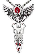 Antique 925 Sterling Silver Modern Day Twist Medical Calduceus Pendant Necklace