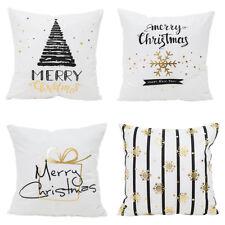 18'' Christmas Pillow Case Glitter Sofa Throw Cushion Cover Home Decor White AU
