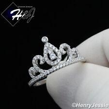 WOMEN 925 STERLING SILVER LAB DIAMOND BLING CROWN RING SIZE 6-9*SR124
