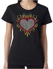 Flaming Heart Volleyball Love Rhinestone Women's Short Sleeve Shirts Sports