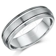 tungsteno anello uomo DI MATRIMONIO DOPPIO con scanalature senza nichel 6mm