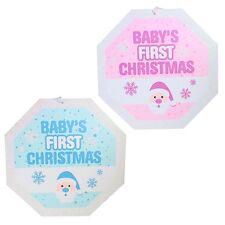 bébés 1st Noël 25cm PAILLETé PLAQUE DÉCORATION - Rose ou bleu