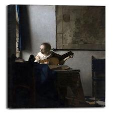 Vermeer donna con liuto design quadro stampa tela dipinto telaio arredo casa